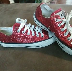 22f13724ecae Converse Shoes - Red Sparkly Converse All Star Womens 7 Mens 5